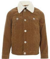 River Island Boys tan borg lined corduroy trucker jacket