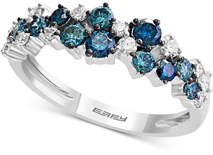 Effy Shades of Bleu Diamond Cluster Band (3/4 ct. t.w.) in 14k White Gold