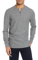 BOSS Textor Regular Fit Quarter Zip Thermal T-Shirt