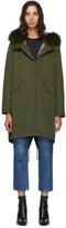 Yves Salomon Army Army Green Fur Reflective Lining Bachette Parka