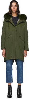 Yves Salomon Army Green Fur Reflective Lining Bachette Parka