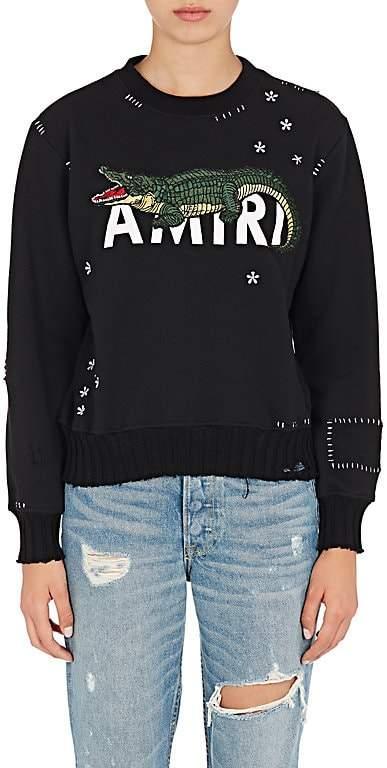 Amiri Women's Alligator-Embroidered Cotton Sweatshirt
