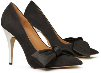 Tory Burch Satin & Suede Bow Pump