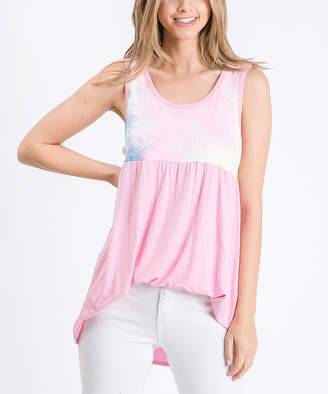 Cool Melon Women's Tank Tops Pink - Pink Tie-Dye Color Block Sleeveless Tunic - Women & Plus