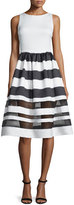 Alice + Olivia Sleeveless Larue Striped Combo Dress, Black/White