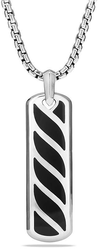 David Yurman Graphic Cable Ingot Tag with Black Onyx