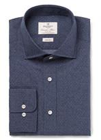 Hackett Blue Slim-fit Cutaway-collar Pin-dot Cotton-poplin Shirt - Navy