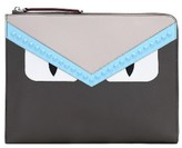 Fendi Large Monster Leather Zip Pouch - Grey