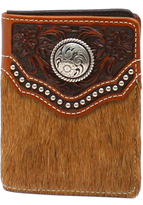 Ariat Brown Calf Hair Concho Leather Bifold Wallet