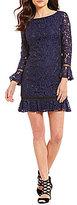 Eliza J Bell Sleeve Lace Ruffle Hem Dress