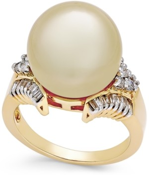 Macy's Cultured Golden South Sea Pearl (13mm) and Diamond (1/2 ct. t.w.) Statement Ring in 14k Gold