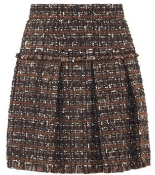 Dolce & Gabbana Tailored Boucle-tweed Pleated Mini Skirt - Brown Multi