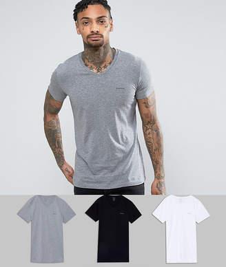 Diesel 3 pack v-neck lounge t-shirts in multi