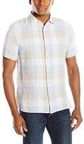 Perry Ellis Men's Short Sleeve Buffalo Check Linen Shirt