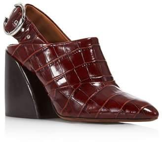 Chloé Women's Croc-Embossed Block Heel Slingback Mules