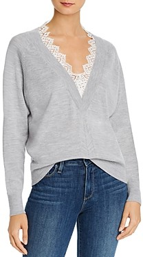 Rebecca Taylor Lace Trimmed Merino Wool Sweater
