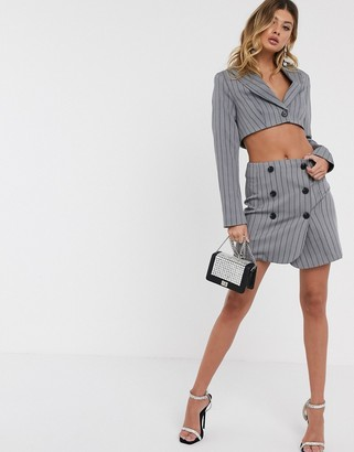 Asos Design DESIGN extreme high waisted suit skirt with buttons in pinstripe-Multi