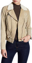 Blanc Noir Faux Shearling Trim Faux Suede Asymmetrical Jacket