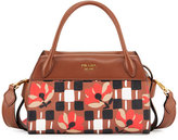 Prada Printed Madras Bowling Ribbon Double-Handle Tote Bag, Brown