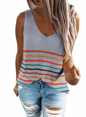 GOSOPIN Women's Flowy Loose Fitting Knit Tank Tops for Teens Casual V Neck Blouse Sleeveless Vest Camisole Blue UK 14