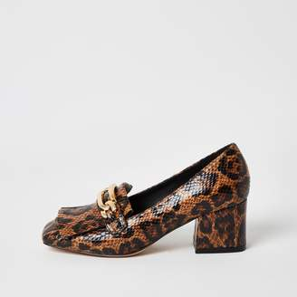 River Island Womens Brown leopard print block heel loafers