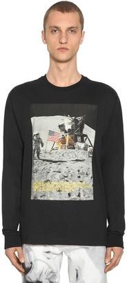 Moon Landing Print Cotton Blend T-Shirt
