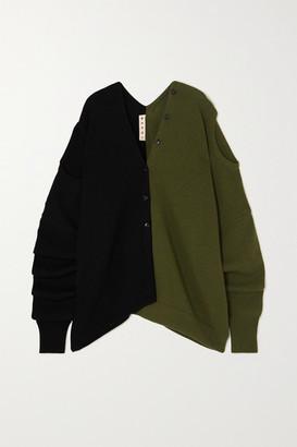 Marni Convertible Two-tone Wool Cardigan - Black