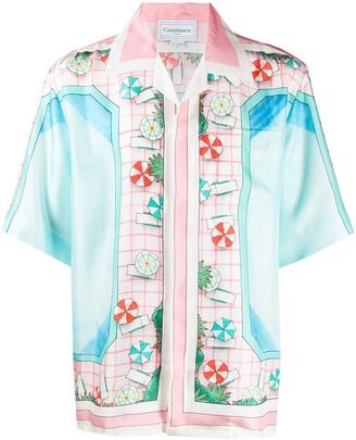 Casablanca Copa pool-print short-sleeved shirt