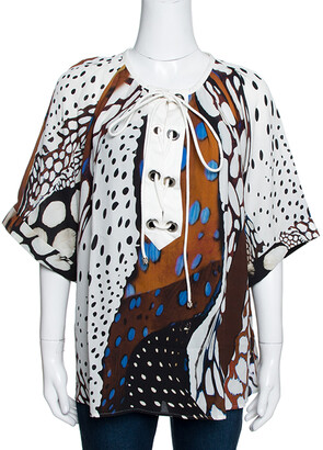 Roberto Cavalli Multicolor Abstract Animal Printed Silk Crepe Short Sleeve Top L