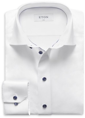 Eton Slim-Fit Twill Dress Shirt with Navy Details