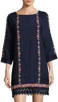 Neiman Marcus 3/4-Sleeve Embroidered Tunic, Blue Pattern