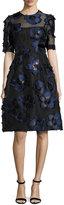 Lela Rose Holly Floral Fil Coupé Fit & Flare Dress, Navy/Black