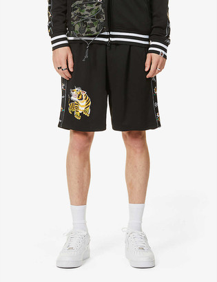 A Bathing Ape Tiger-embroidered jersey shorts