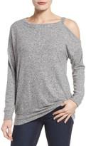 Gibson Petite Women's Open Shoulder Fleece Top