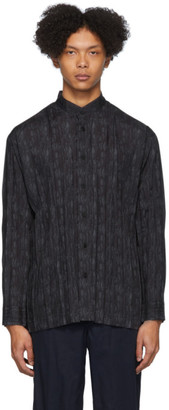 Issey Miyake Black and Grey Collarless Shirt