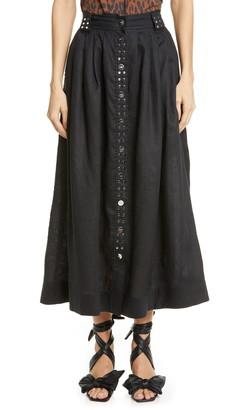 Ganni Studded Linen Skirt