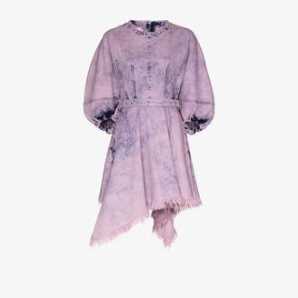 Marques Almeida Asymmetric Acid Wash Mini Dress