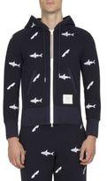 Thom Browne Shark Embroidered Zip-Up Hoodie