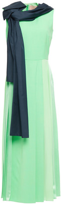 Roksanda Lira Draped Paneled Twill, Satin And Silk Crepe De Chine Midi Dress