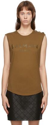 Balmain Brown Three-Button Tank Top