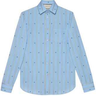Gucci Cotton shirt with bee stripe fil coupe