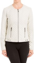 Max Studio Quilted Leatherette Moto Jacket
