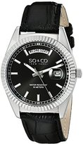 So & Co New York Madison Unisex Quartz Watch with Black Dial Analogue Display and Black Leather Strap 5041.1