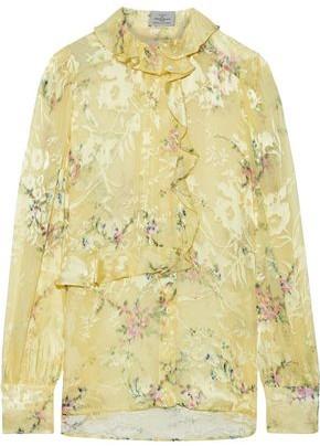 Preen by Thornton Bregazzi Athena Ruffle-trimmed Floral-print Burnout Satin Blouse