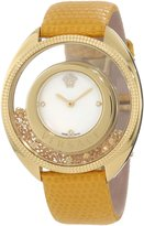 Versace Women's 86Q721MD497 S585 Destiny Spirit Floating Micro Spheres Yellow Leather Watch