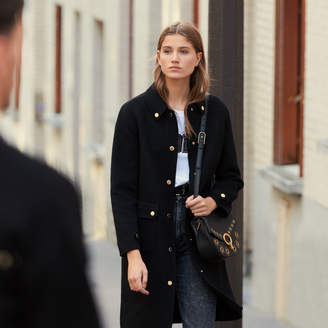 Sandro Wool Coat With Gold-Tone Press Studs