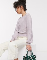 And other stories & round neck balloon sleeve sweater in lilac