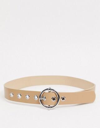 Stradivarius belt with round buckle in beige