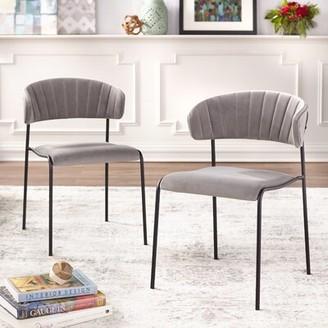 Caistor Tufted Velvet Upholstered Side Chair Wrought Studio Upholstery Color: Gray Velvet