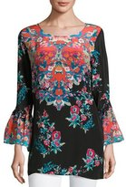 Tolani Belle Floral-Print Silk Tunic